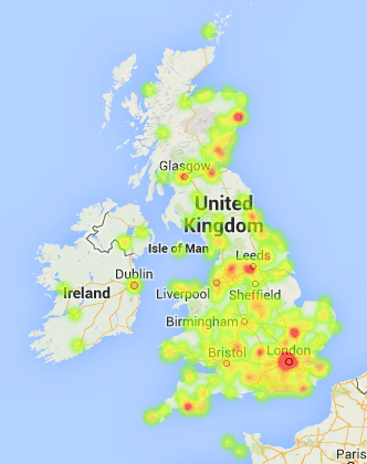 Heatmap of UK collections